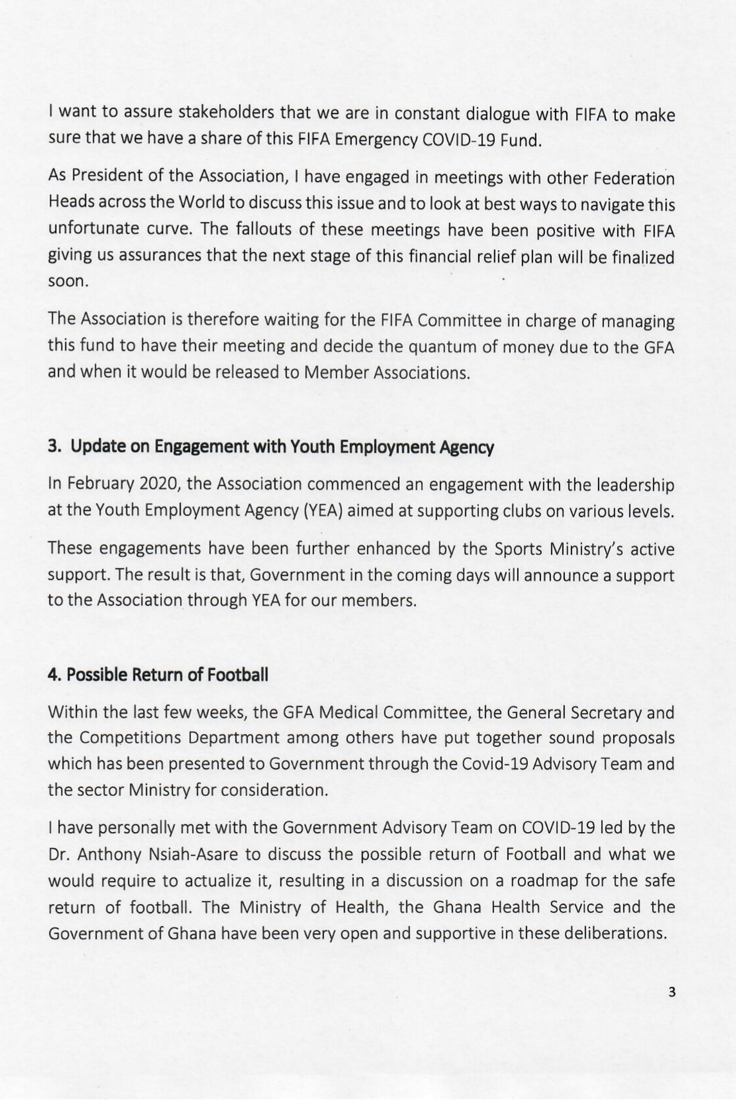 UPDATE ON STIMULUS PACKAGE AND POSSIBLE RETURN OF FOOTBALL. - Greater Accra Regional Football Association